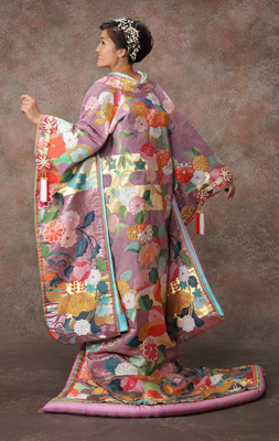 0-120 桃山菊桜文 紫重ね 色打掛